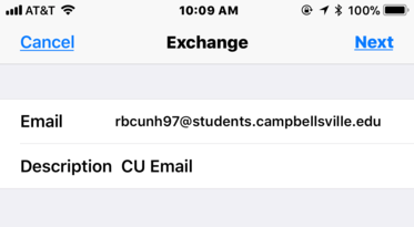 Screenshot of iPhone Add Account settings with the an example email and description
