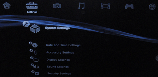 Screenshot of the Playstation 3 dashboard with the Settings and System Settings options selected