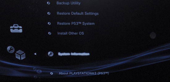 Screenshot of the Playstation 3 system Settings with the System Information option selected