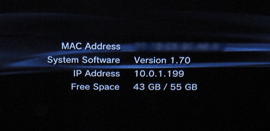 Screenshot of the Playstation 3 System Information showing the MAC address