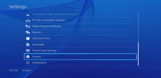 Screenshot of the Playstation 4 settings with the System option selected