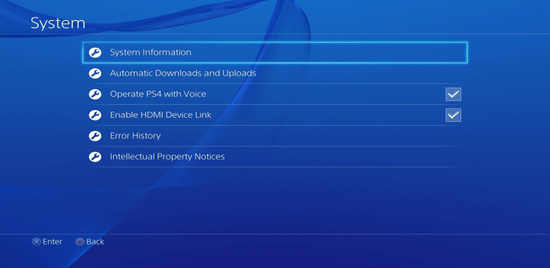 Screenshot of the Playstation 4 system settings with the System Information option selected
