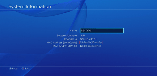 Screenshot of the Playstation 4 system information showing the MAC address