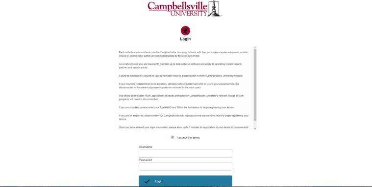 Picture of the registration website showing the terms and conditions and the login form