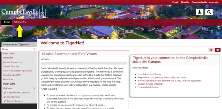Picture of the Tigernet website pointing out where to find the students tab