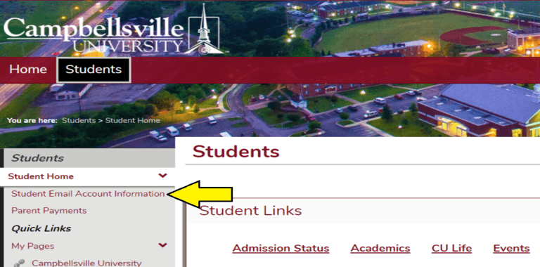 Picture of the Tigernet website pointing out where to find the student email account information link