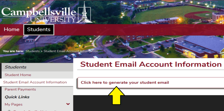 Picture of the Tigernet website pointing out where to click to generate the student email