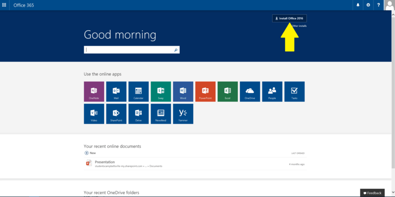 Screenshot of the office 365 menu with an arrow pointing to the install office 2016 button