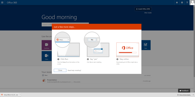 Screenshot of the popup window that shows up when you click on install office 2016