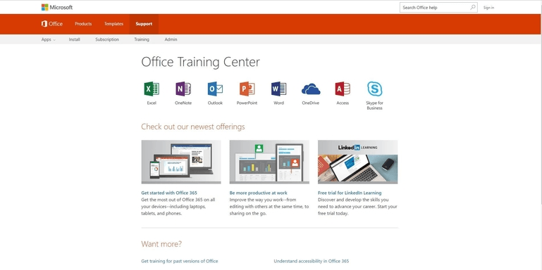 Screenshot of the office training page on the Microsoft support website