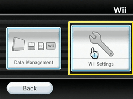 Picture of the Wii dashboard with the Wii Settings option selected