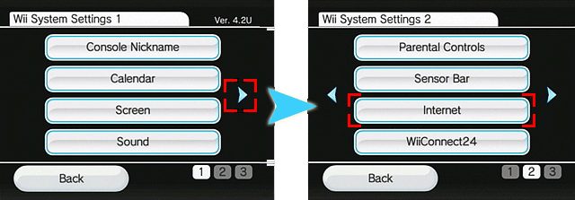 Picture of the Wii Settings showing how to get to the Internet option by going to the second page of the settings
