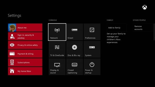 Screenshot of the Xbox One Settings with the Network option selected