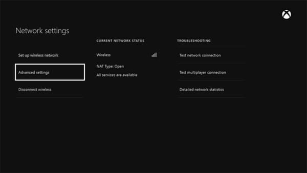Screenshot of the Xbox One Network settings with the Advanced Settings option selected