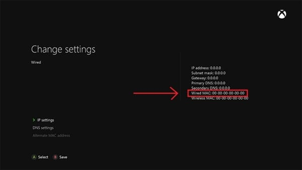 Screenshot of the Xbox One Network Advanced Settings showing the MAC address