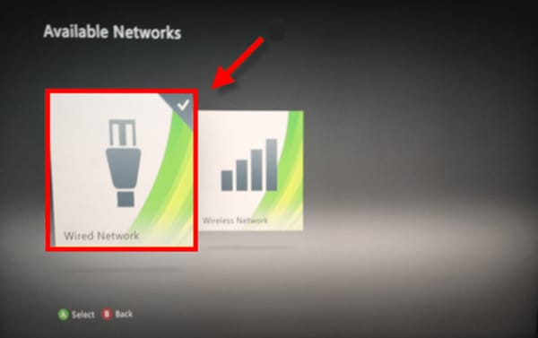 Screenshot of the Xbox 360 Network Settings showing the wired and wireless options