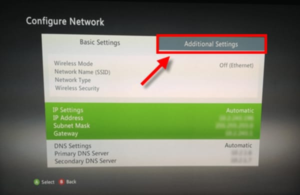Screenshot of the Xbox 360 Wired Network settings with the Additional Settings option selected