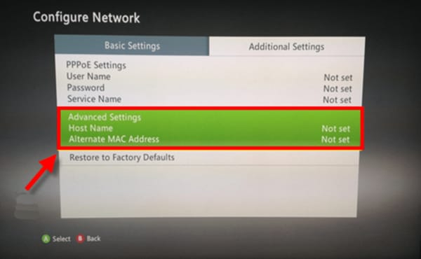 Screenshot of the Xbox 360 Additional Settings with the Advanced Settings option selected