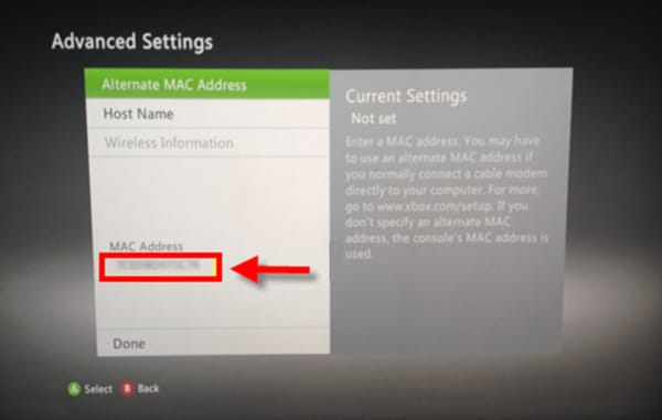 Screenshot of the Xbox 360 Advanced Settings showing the MAC address